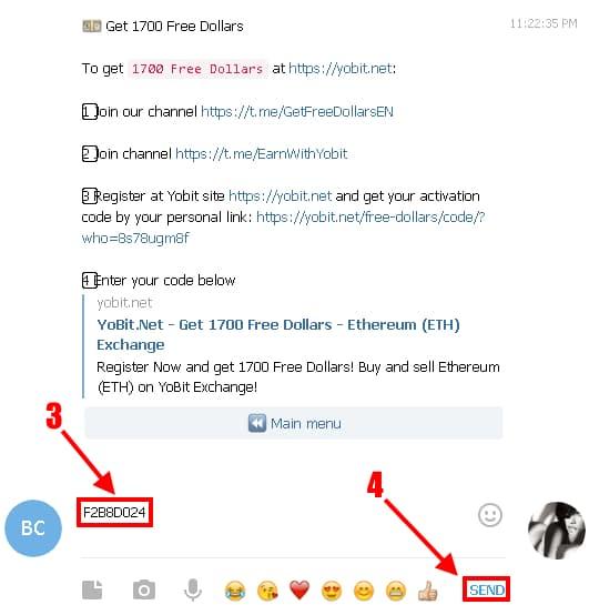 free dollars send code